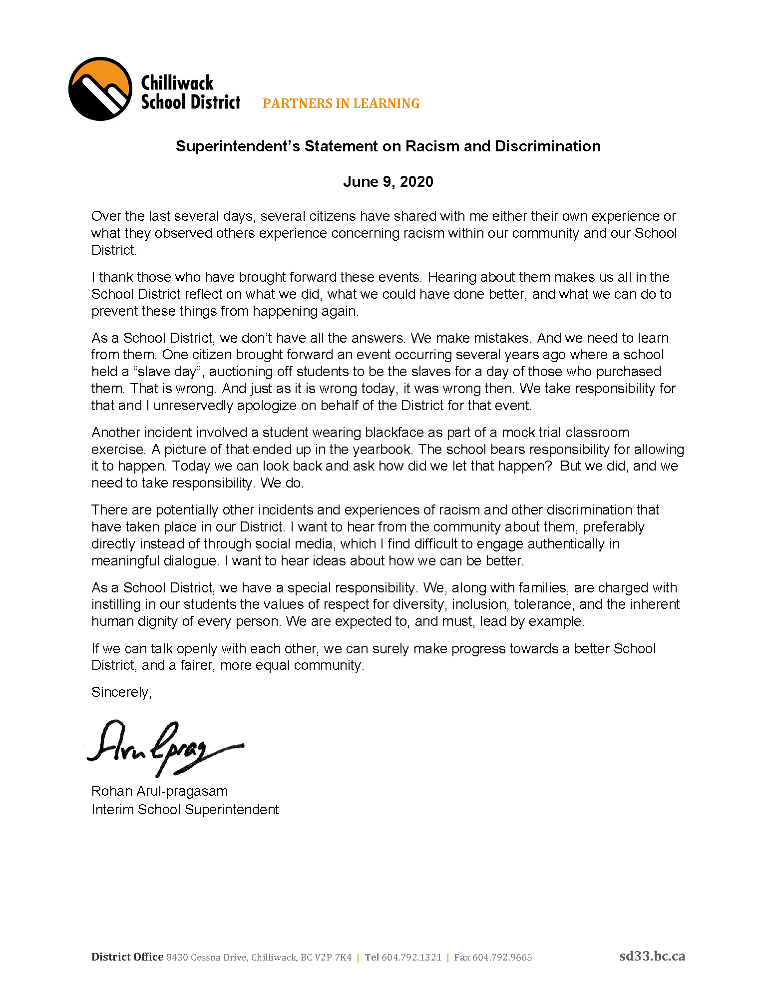 Statement on Racism and Discrimination